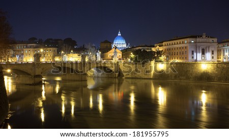 Rome, Italy - February 28, 2013: The Tiber River is the main river of central and peninsular, with 405 km of the course is the third-longest Italian river.