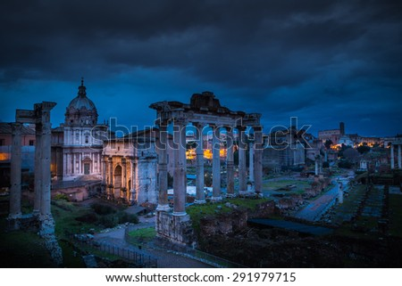 Rome, Italy. Fori imperiali during the night. - stock photo