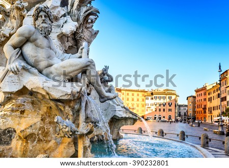 Rome, Italy. Fountain of the Four Rivers (Fontana dei Quattro Fiumi) with an Egyptian obelisk in Piazza Navona. - stock photo