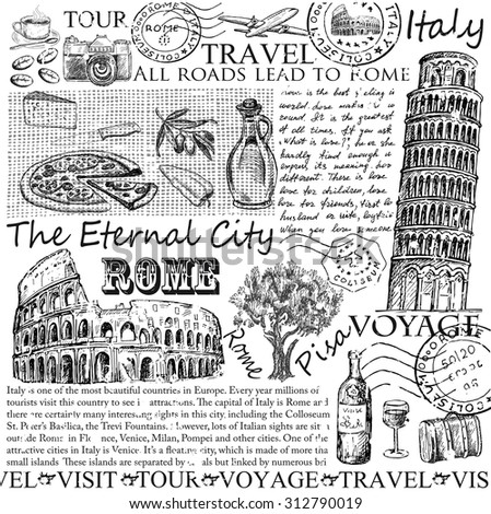 rome italy. hand drawn set of pictures