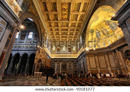 Rome, Italy. Interior of Papal Basilica of Saint Paul Outside the Walls. Ostiense district.