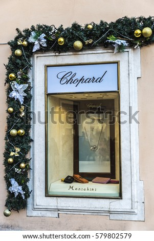 Rome, Italy - January 1, 2017: Chopard shop located on Piazza di Spagna, near Via Condotti, one of the most exclusives streets in Europe.