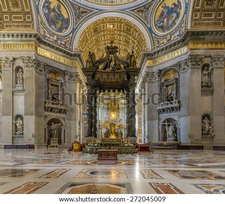 Rome, Italy, - January 04, 2015: Inside the famous San pietro church in Rome italy, the Altar - stock photo
