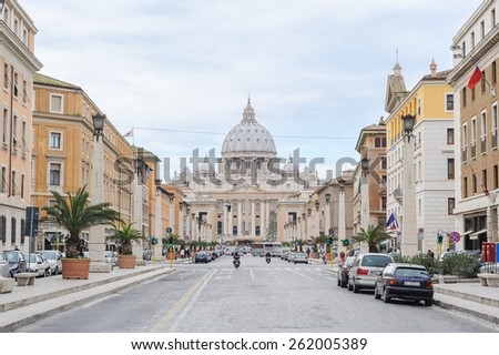 ROME, ITALY - JANUARY 27, 2010: Saint Peter's Basilica is a church situated in Vatican city. It is a late renaissance church and one of the largest churches in the world. - stock photo