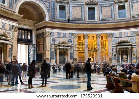 ROME, ITALY - JANUARY 24TH: The beautiful interior of the famous basilica Pantheon on january 27, 2014 in Rome, Italy. Rome is the capital of Italy attracting up to 10 million tourists a year.  - stock photo