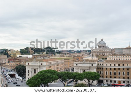 ROME, ITALY - JANUARY 27, 2010: View of Rome with the tiber river and dome of the St. Peter's Basilica from the top of Castel Sant'Angelo in Italy.