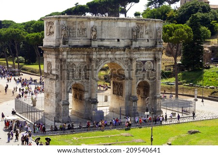 ROME, ITALY - 28 JULY 2014: Arch Of Constantine. View from the Colosseum. Rome Italy  - stock photo