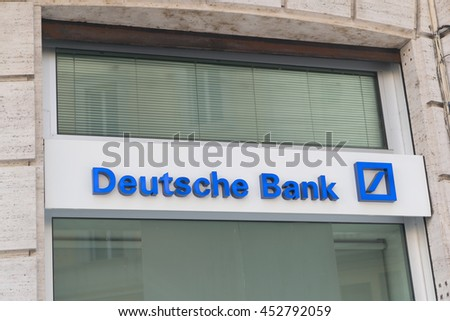 ROME, ITALY- JULY 5: Deutsche bank sign in the historical center in Rome, Italy on July 5, 2016.