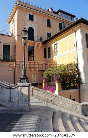 Rome, Italy - July 02: Old house and part of the Spanish Steps, on July 02, 2014, Rome, Italy