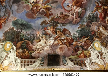 ROME, ITALY - JUNE 14, 2015:  Art painting of ceiling in central hall of Villa Borghese, Rome