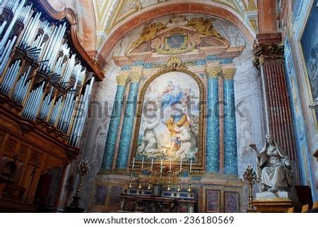 ROME, ITALY - JUNE 1: Basilica of Santa Maria degli Angeli e dei Martiri in Rome on June 1, 2014, Rome, Italy. - stock photo