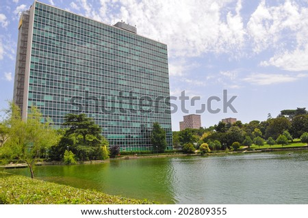 ROME, ITALY - JUNE 23, 2014: EUR residential and business district built for the Esposizione Universale Roma meaning Rome World Fair in 1942