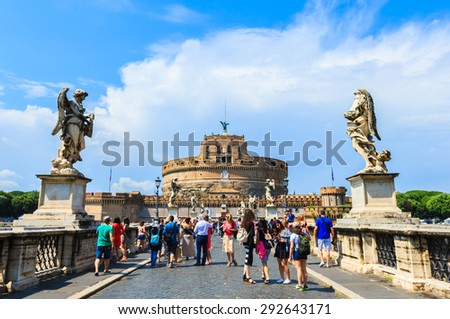 ROME, ITALY - JUNE 20: Many tourists visiting the famous medieval castle of Sant' Angelo in Rome, Italy on June 20, 2015. - stock photo
