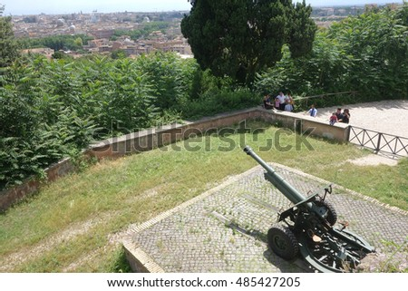 ROME, ITALY - JUNE 15, 2016: people assist at the cannon fire at noon on the janiculum hill