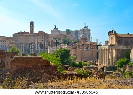 Rome, ITALY - JUNE 01: Roman Forum ruins in Rome, Italy on June 01, 2016