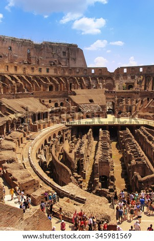 ROME,ITALY-JUNE 27, 2015: Rome's greatest amphitheater, The Colosseum where at one time it seated 55,000 people seated according to rank, in Italy - stock photo