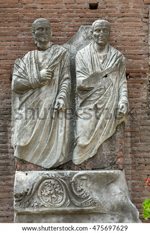 ROME, ITALY - JUNE 12, 2015:  The ancient statues in the baths of Diocletian (Thermae Diocletiani) in Rome. Italy