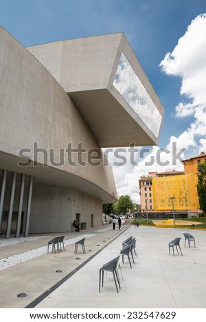 ROME, ITALY - JUNE 29, 2013: The Maxxi National Museum of the 21st Century Arts designed by British architect Zaha Hadid in 2010