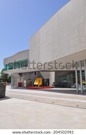 ROME, ITALY - JUNE 24, 2014: The Maxxi National Museum of the 21st Century Arts is a national museum of contemporary art designed by British architect Zaha Hadid in 2010