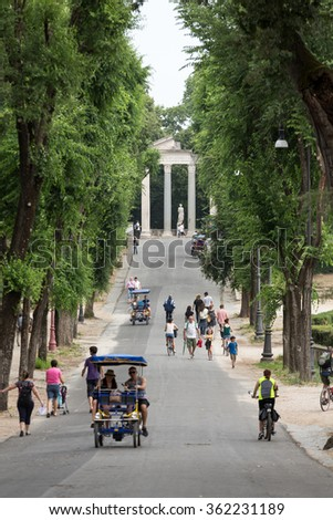 ROME, ITALY - JUNE 14, 2015: Walking route of the Villa Borghese Gardens Park . Rome, Italy