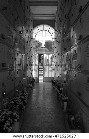 ROME, ITALY - 1 MARCH 2015 - A visit in the biggest and monumental cemetery of Rome, named Verano. Tombs with fine architecture and statues in gothic style.