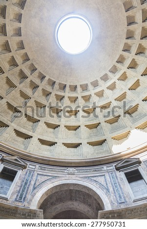 ROME, ITALY - MARCH 19, 2015: Dome of the Pantheon. Inside view.