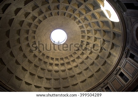 Rome, Italy, 8 March 2016. Interior photo of the Pantheon in Rome.