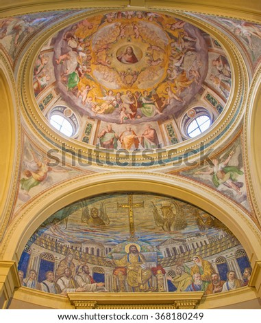 ROME, ITALY - MARCH 22, 2012: Mosaic of Jesus the Teacher from 4th century and cupola and main altar from Santa Pudenziana church. Mosaic war restored in the 16th century.