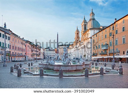 ROME, ITALY - MARCH 12, 2016: Piazza Navona in morning and Fountain of Neptune (1574) created by Giacomo della Porta and Santa Agnese in Agone church  - stock photo
