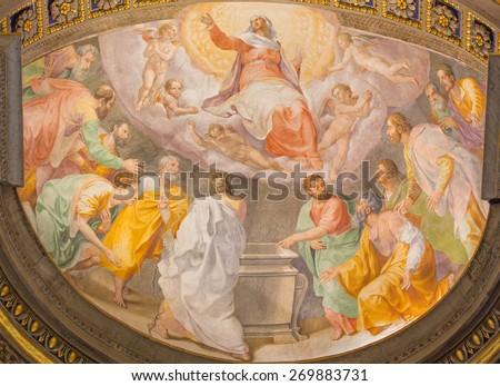 ROME, ITALY - MARCH 27, 2015: The Assumption of Virgin Mary fresco in church Santa Maria dell Anima by Francesco Salviati from 16. cent. - stock photo