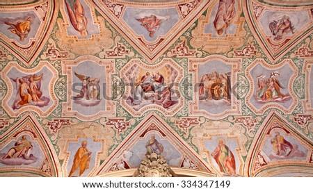 ROME, ITALY - MARCH 22, 2012: The ceiling fresco of vestibule in Basilica di San Giovanni in Laterano by  Giovani Battista Montano from 15. cent. of vestibule from Lateran basilica - stock photo
