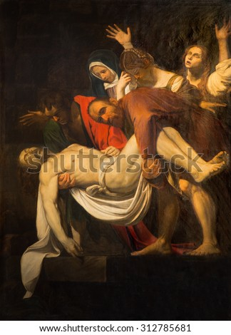 ROME, ITALY - MARCH 26, 2015: The Copy of Deposition of the cross by M. Koch (1797) in church Santa Maria in Vallicella. The original by Caravaggio (1571 - 1610) is in the Vaticans museums. - stock photo