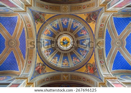 ROME, ITALY - MARCH 27, 2015: The cupola and ceiling in church Chiesa di San Agostino (Augustine) P. Gagliardi form 19. cent.