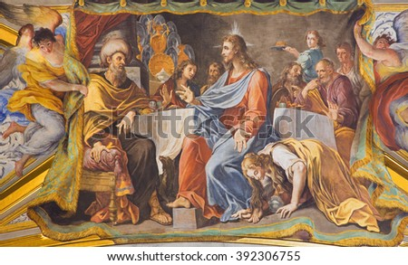 ROME, ITALY - MARCH 9, 2016: The detail of vault fresco Mary Washes Jesus's Feet in church Chiesa di Santa Maria Maddalena in Campo Marzio by Michelangelo Cerruti (1663 - 1749).
