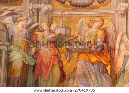 ROME, ITALY - MARCH 27, 2015: The engels fresco in sancturary in church Basilica di Santa Maria in Trastevere from 17. cent. by Domenichino (1581 - 1641).