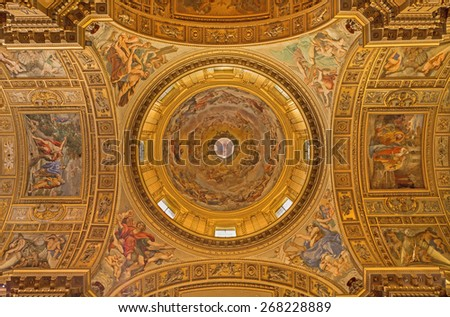 ROME, ITALY - MARCH 27, 2015: The fresco in the cupola of church Basilica di Sant Andrea della Valle by Giovanni Lanfranco (1621- 1625) and four Evangelists by Carracci school (17. cent.). - stock photo