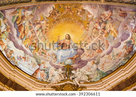 ROME, ITALY - MARCH 11, 2016: The fresco of Christ the Redeemer in Glory with the Heavenly Host by Niccolo Circignani Il Pomarancio (1588) in main apse of church Basilica di Santi Giovanni e Paolo.