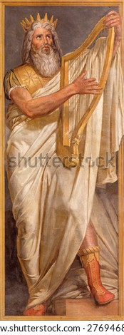 ROME, ITALY - MARCH 25, 2015: The fresco of king David by Paolo Cespedes from year 1571 in church Chiesa della Trinita dei Monti and Chapel of the Deposition. - stock photo