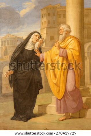 ROME, ITALY - MARCH 27, 2015: The fresco of st. Augustine and his mother st. Monica in Basilica di Sant Agostino (Augustine) by  by Pietro Gagliardi form 19. cent.  - stock photo