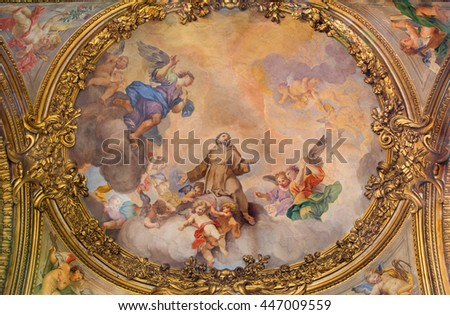ROME, ITALY - MARCH 9, 2016: The fresco The Glory of the angels by Ludovico Gimignani (1695 - 1696) in church Chiesa di San Silvestro in Capite and The St. Francis chapel.