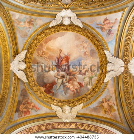 ROME, ITALY - MARCH 12, 2016: The Glory of St Bartholomew fresco on the side cupola in Chiesa di Santa Maria del Orto by Andrea Orazi again 1708.