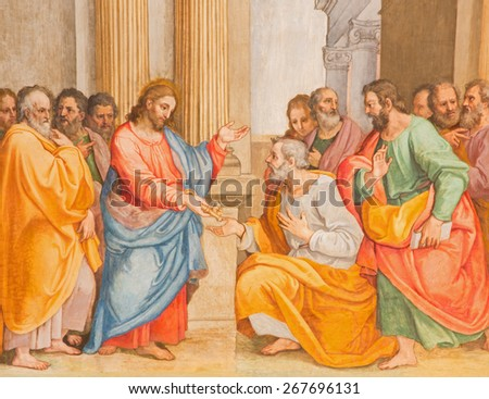ROME, ITALY - MARCH 26, 2015: The Jesus give peter the keys fresco by G. B. Ricci from 16. cent. in church Chiesa di Santa Maria in Transpontina and chapel of st. Peter and Paul.