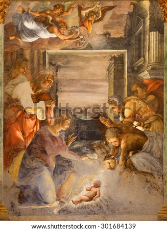 ROME, ITALY - MARCH 25, 2015: The Nativity fresco in side chapel of church Chiesa della Trinita dei Monti by unknown artist from middle of 16. cent. - stock photo