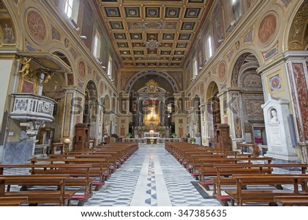 ROME, ITALY - MARCH 25, 2015: The nave in renaissance-baroque church Chiesa di San Lorenzo in Lucina