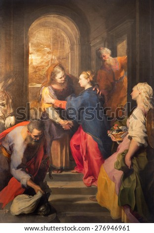 ROME, ITALY - MARCH 26, 2015: The paint of Visitation by Federico Barocci (1528 - 1612) in baroque church Chiesa Nuova (Santa Maria in Vallicella). - stock photo
