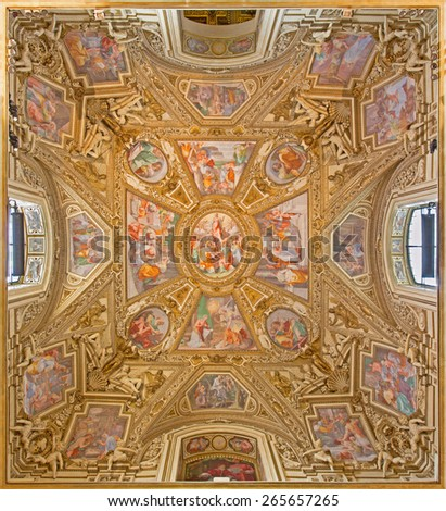 ROME, ITALY - MARCH 27, 2015: The painting of the 'Assumption of the Virgin', created in 1616 by Domenichino on the ceiling of side chapel of Basilica di Santa Maria in Trastevere. - stock photo
