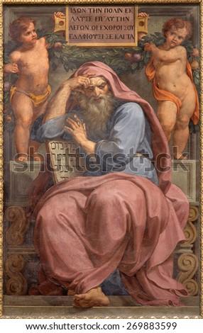 ROME, ITALY - MARCH 27, 2015: The prophet Jeremiah fresco in Basilica di Sant Agostino (Augustine) by Pietro Gagliardi form 19. cent.  - stock photo