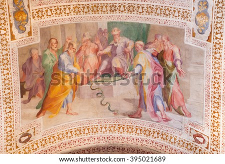 ROME, ITALY - MARCH 11, 2016: The Staff of Moses Turns into a Serpent by Andrea Lilio (1555 - 1642).  Fresco from the vault of stairs in church Chiesa di San Lorenzo in Palatio ad Sancta Sanctorum. - stock photo