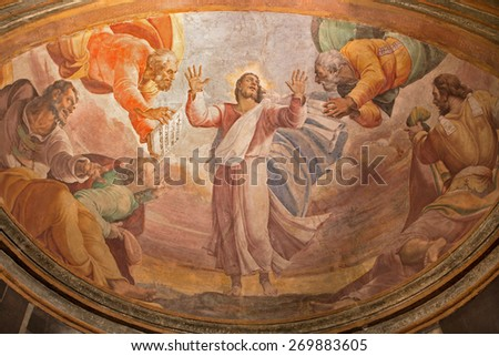 ROME, ITALY - MARCH 27, 2015: The Transfiguration on the mount Tabor fresco in church Santa Maria dell Anima by Francesco Salviati from 16. cent. - stock photo
