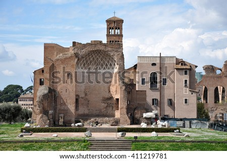 ROME, ITALY - MARCH 15, 2016: Tourists visiting the Domus Aurea, built by Emperor Nero in Rome, in the Roman Forum - stock photo